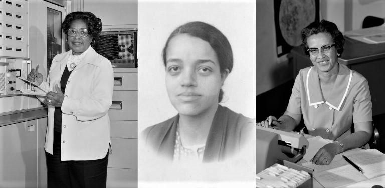Da esquerda para a direita: Mary Jackson (1921-2005), Dorothy Vaughan (1910-2008) e Kathery Johnson (nascida em 1918). Fonte: NASA