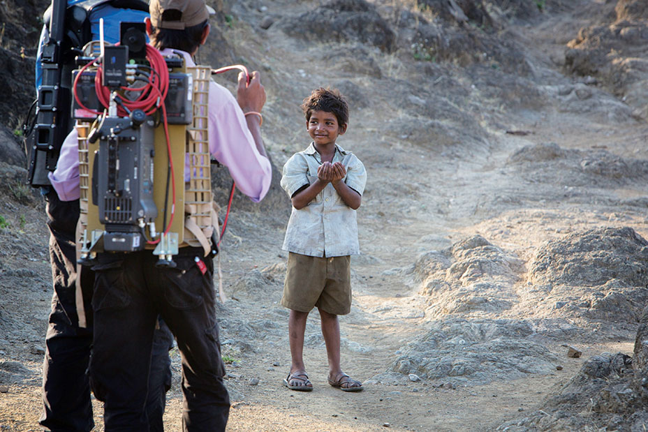 Sunny Pawar on the set of LION Photo: Mark Rogers